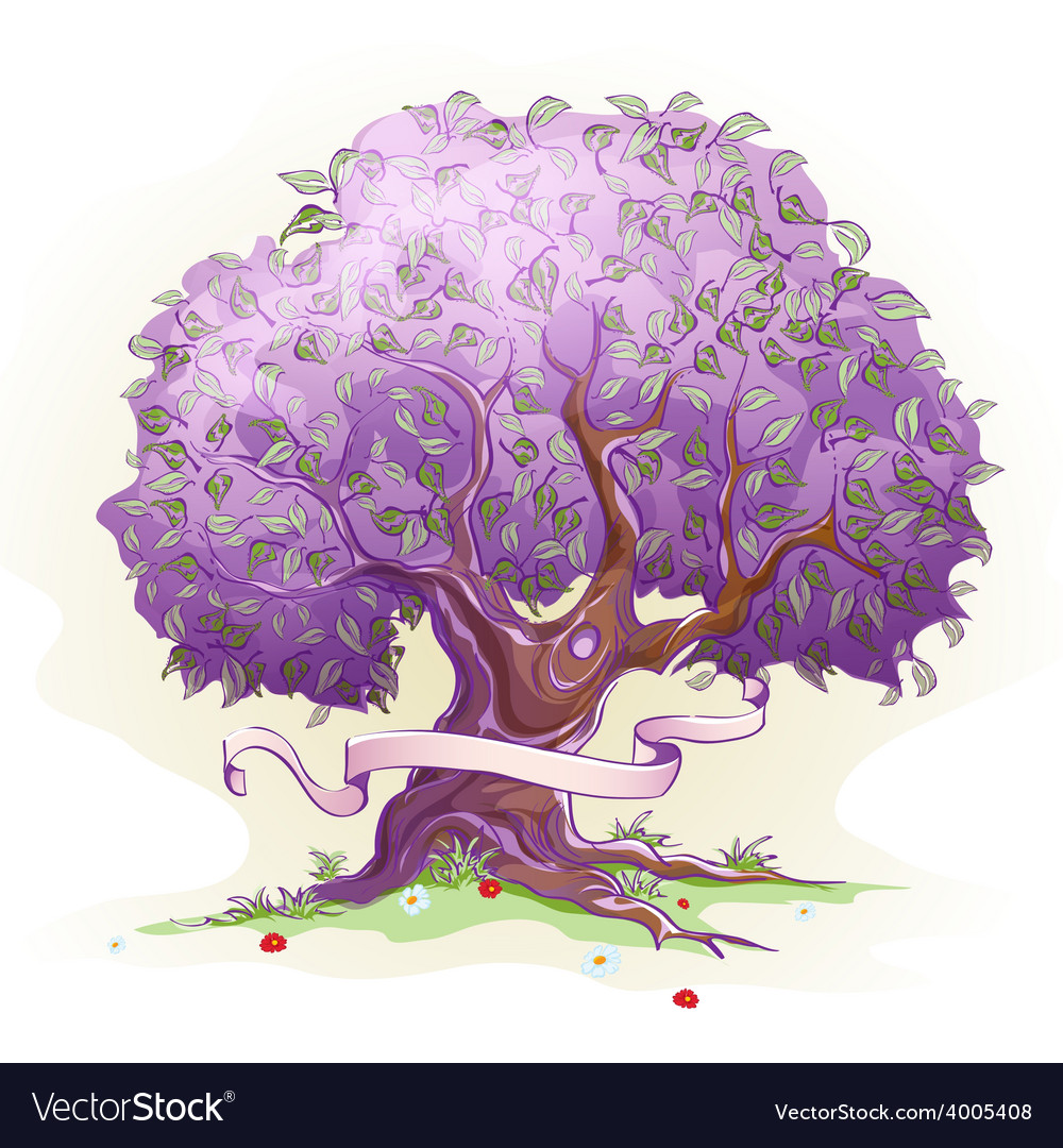 Image of a tree with leaves the tree of wisdom vector
