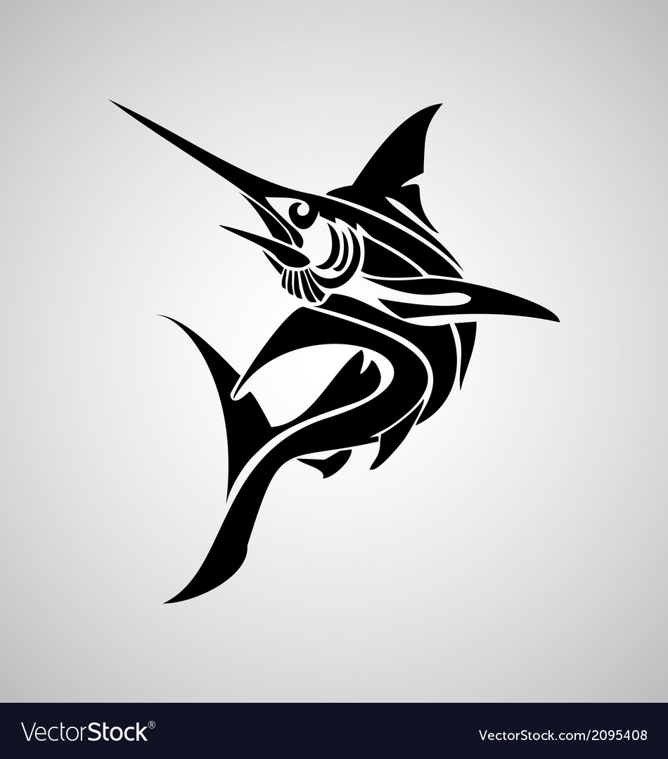 Tribal marlin fish vector