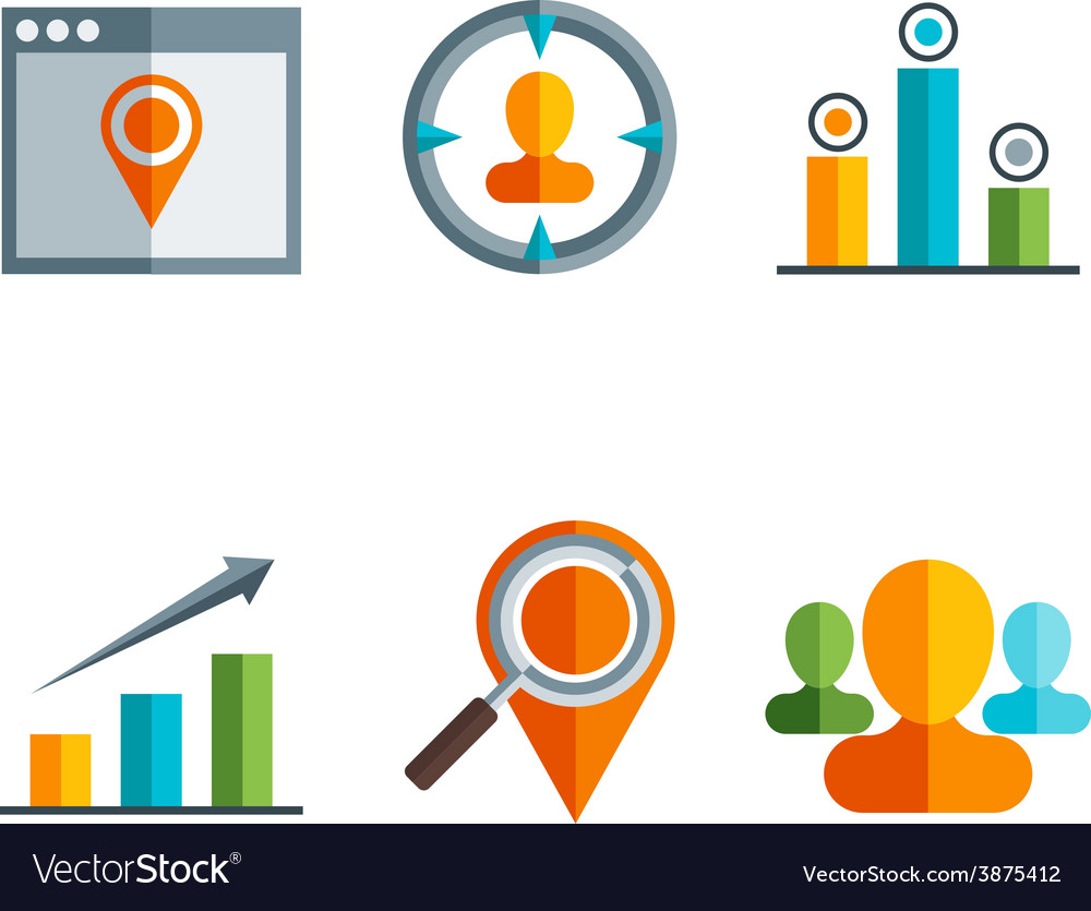 Business and finance icons and sign in flat vector