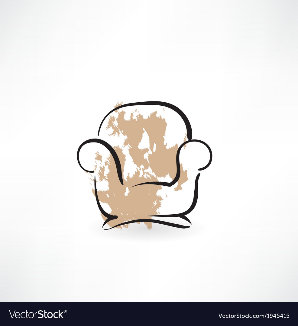 Armchair grunge icon vector