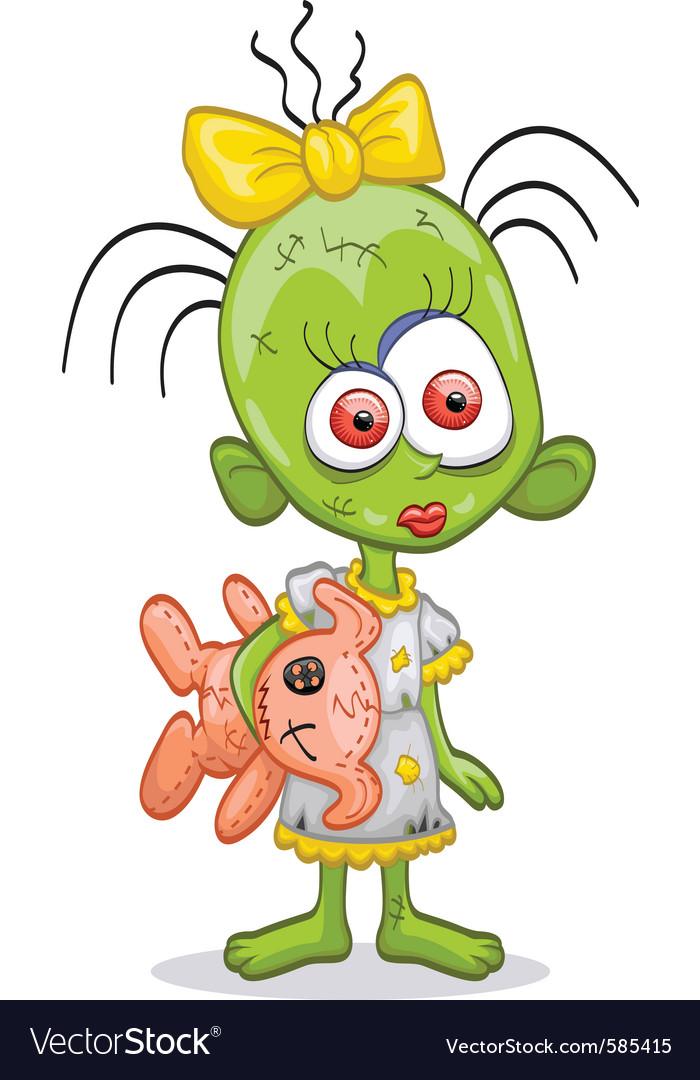 Little zombie girl vector