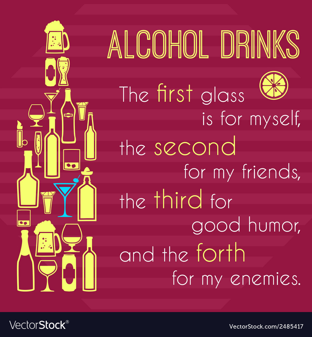 Alcohol poster with bottle icons vector