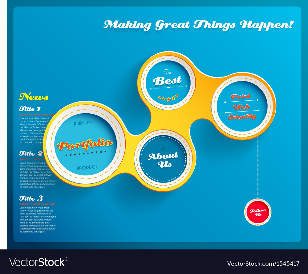 Web design template with hexagons on blue vector