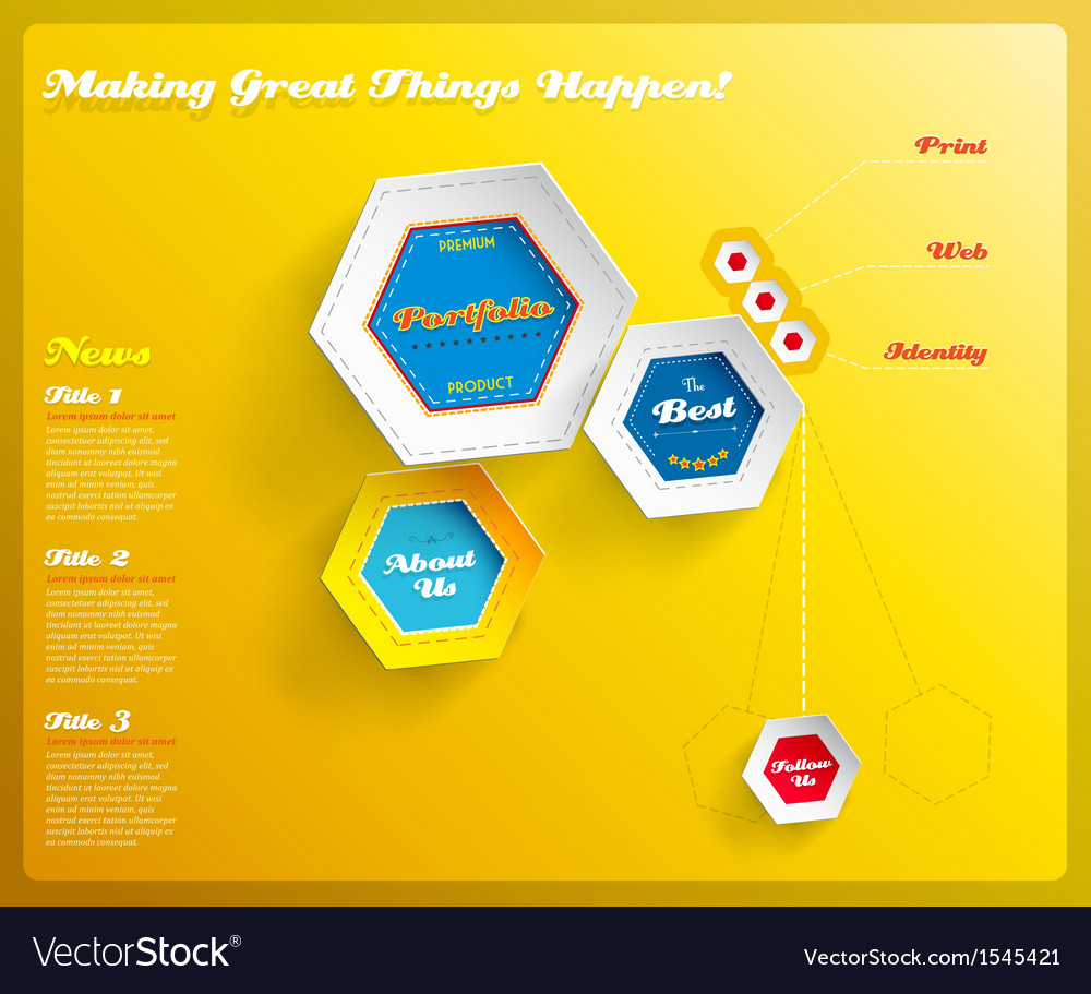 Web design template with hexagons on yellow vector