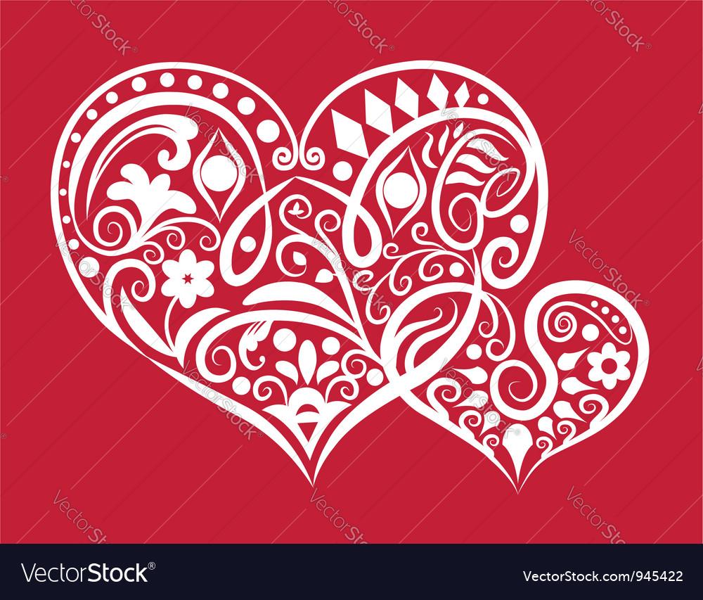 Two hearts ornament vector