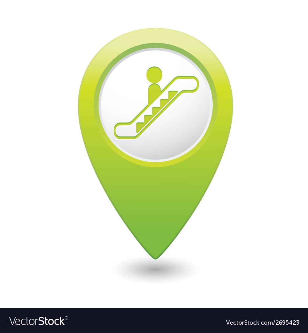 Escalator icon green map pointer4 vector