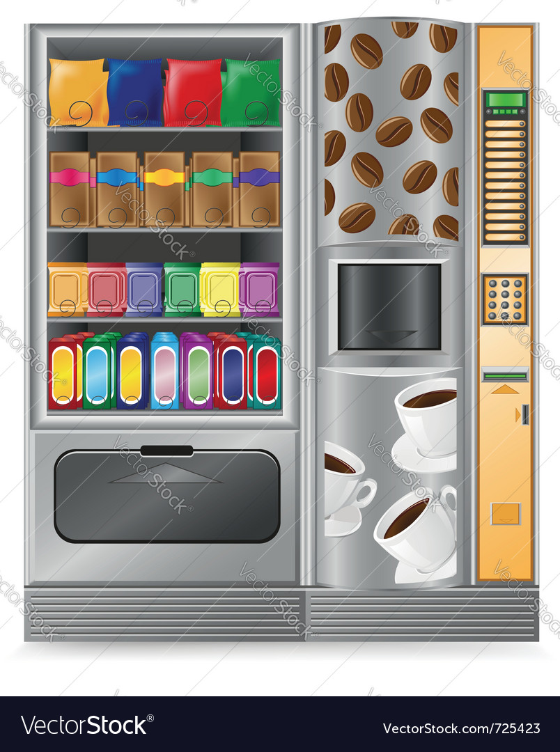Vending coffee and snack is a machine vector