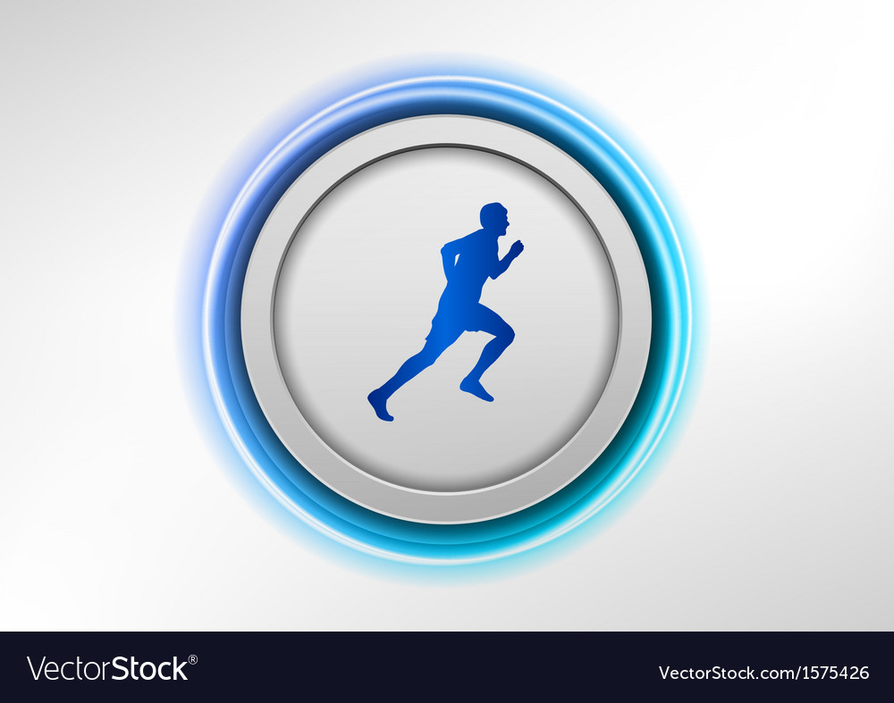 Circle blue with runner vector