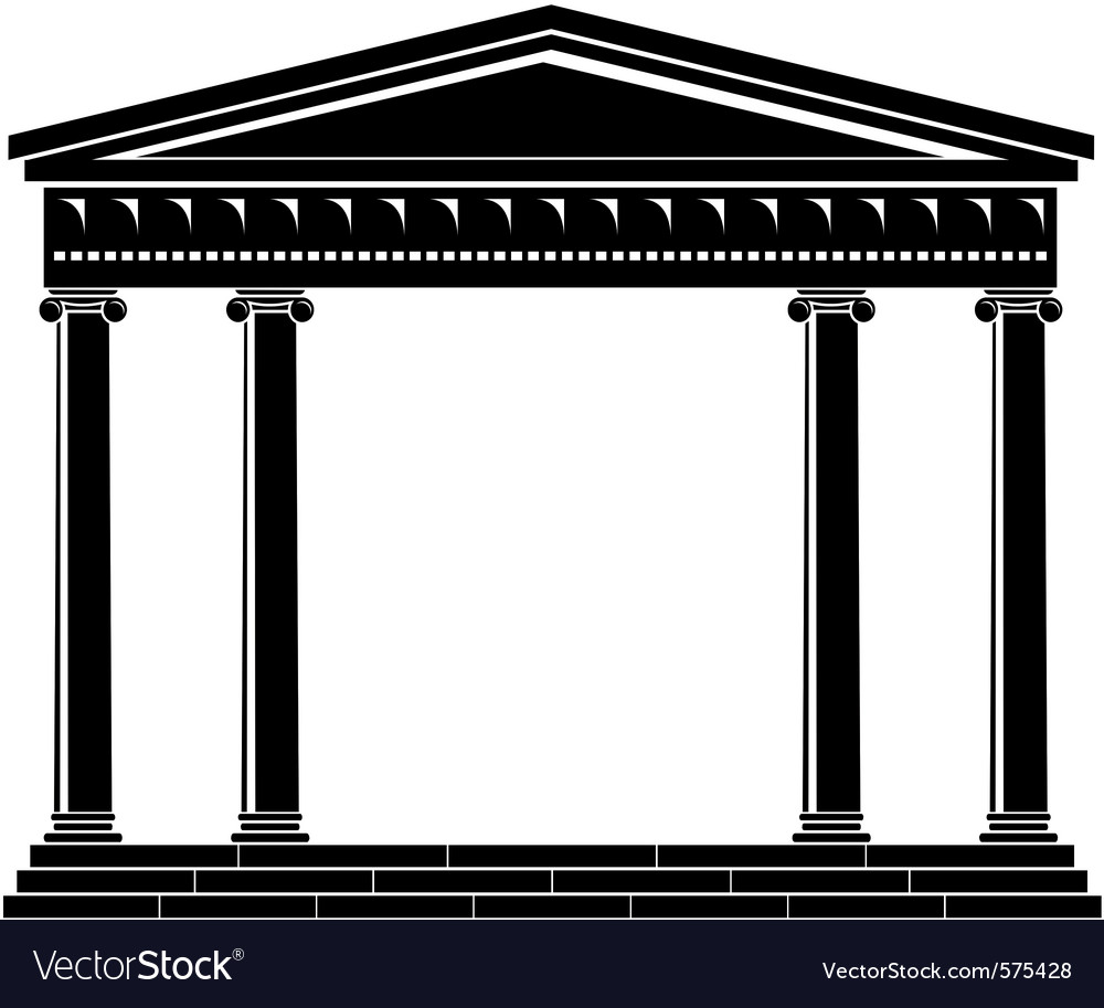 Portico of ancient temple vector