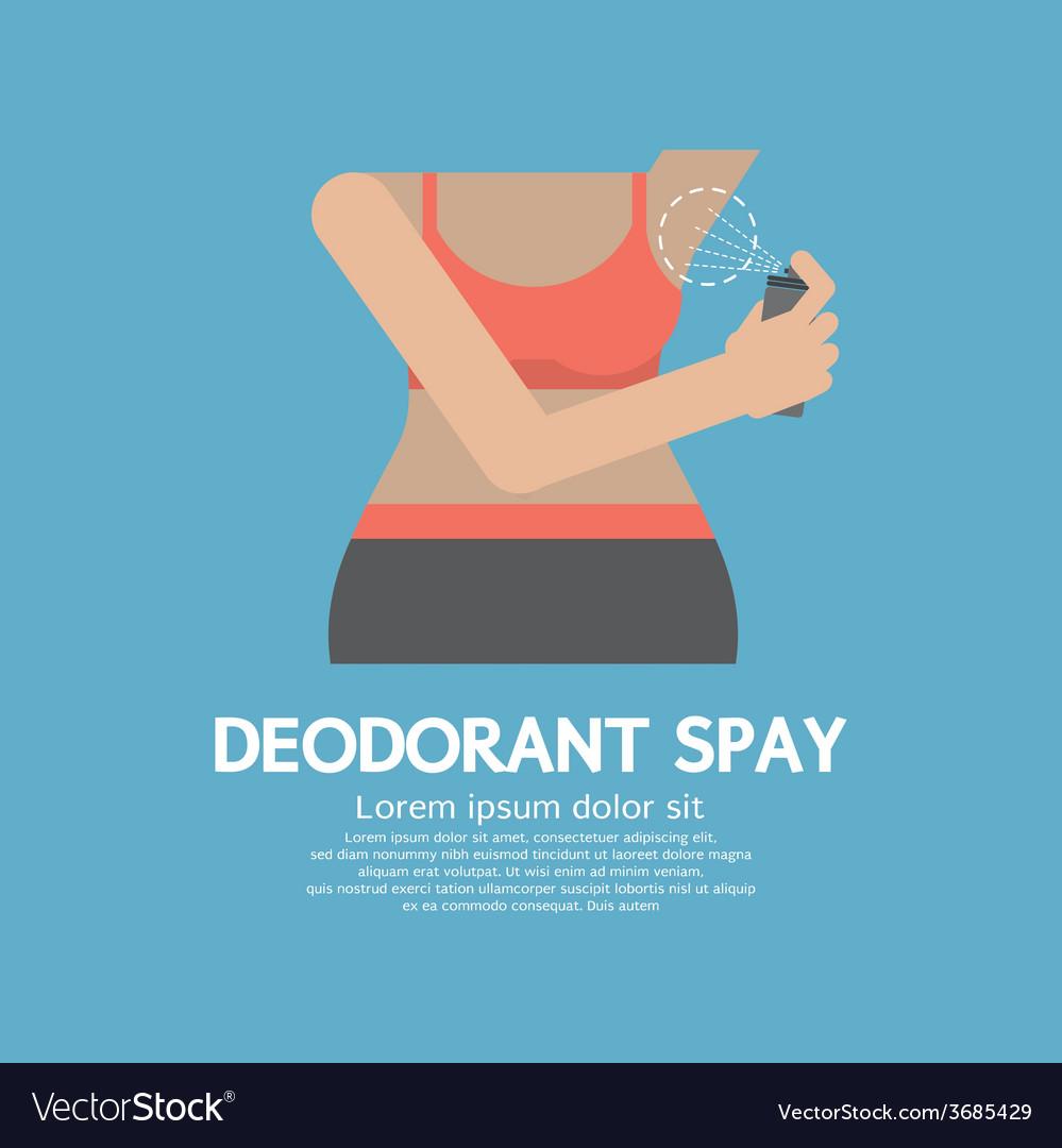 Sporty woman using deodorant spray vector