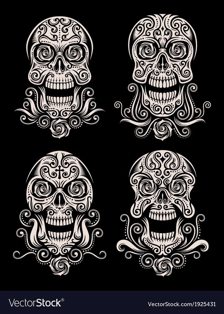 Day of the dead skull tattoo set vector