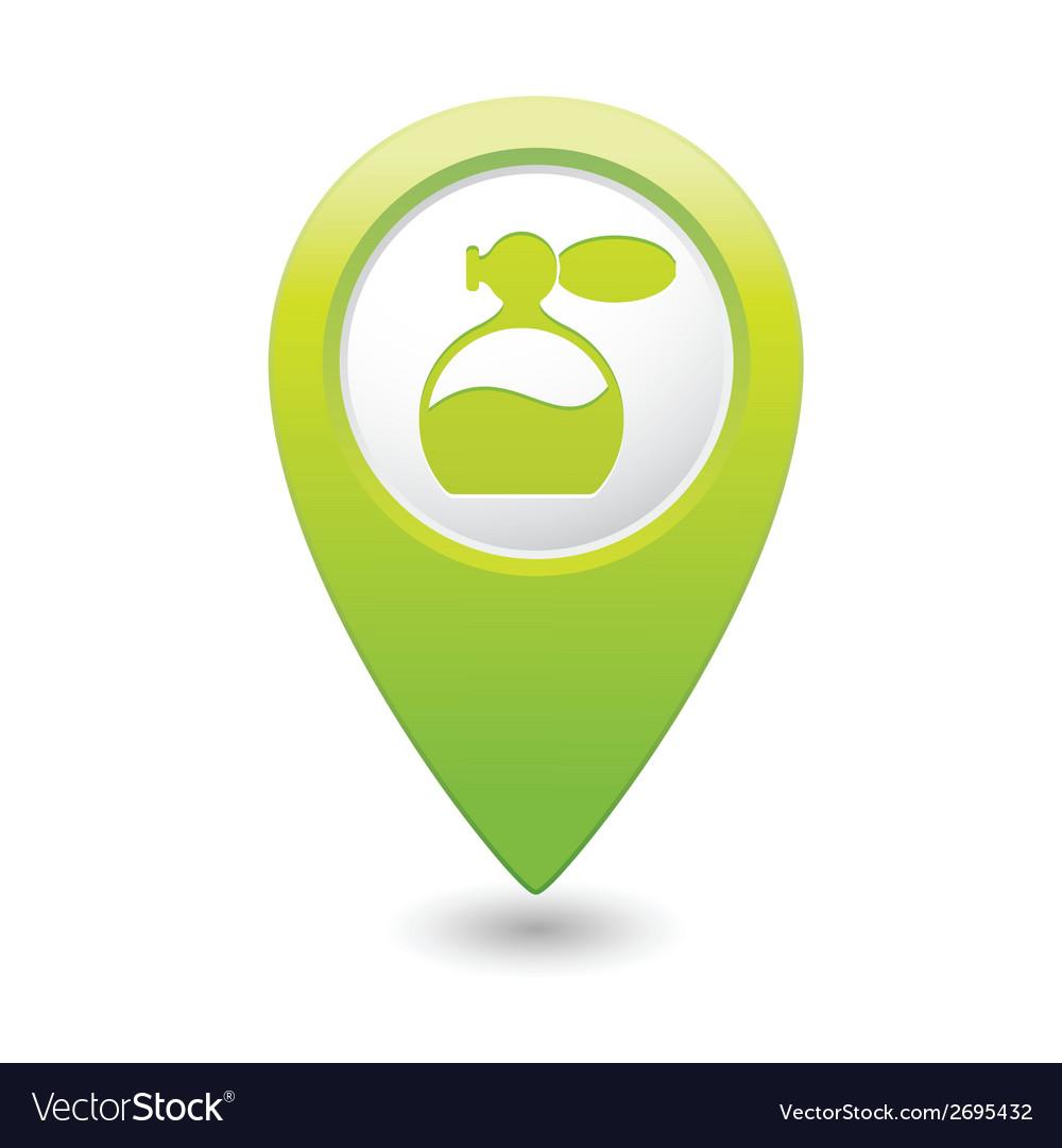 Perfume icon green map pointer vector