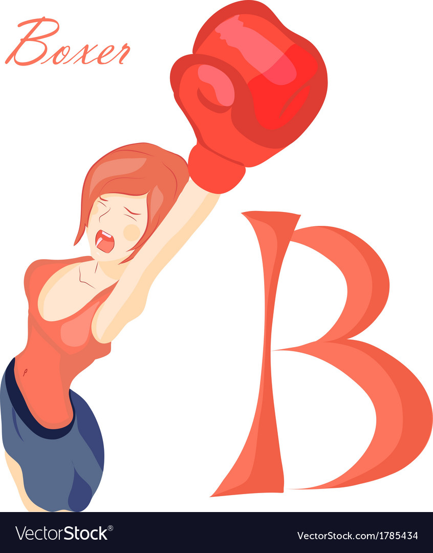 Beautiful girl in boxing gloves alphabet abc vector
