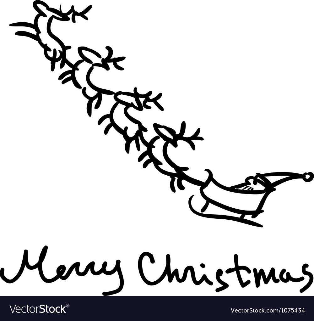 Santa s sleigh sketch vector