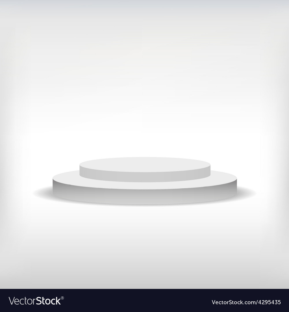3d isolated empty white podium on gray background vector