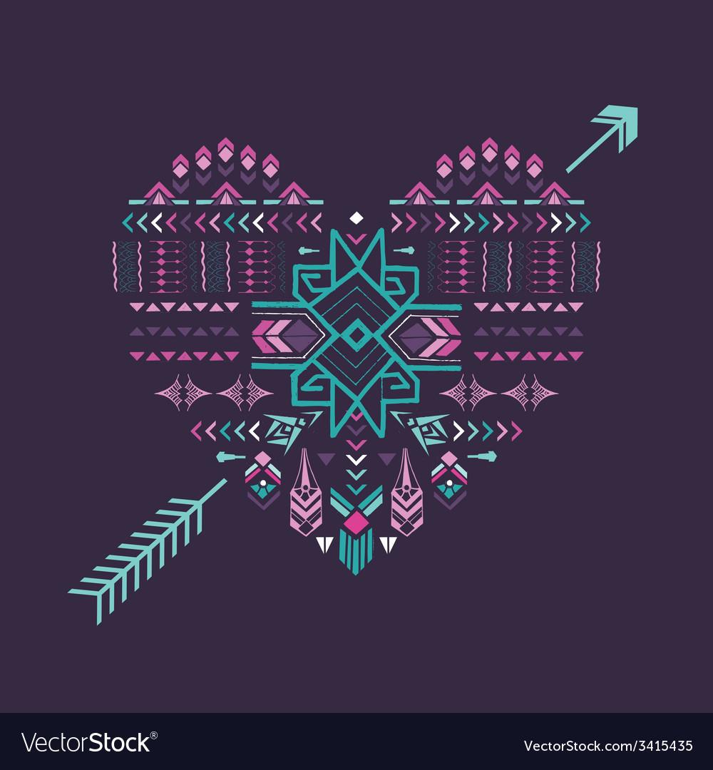 Tribal heart - vintage aztec background vector