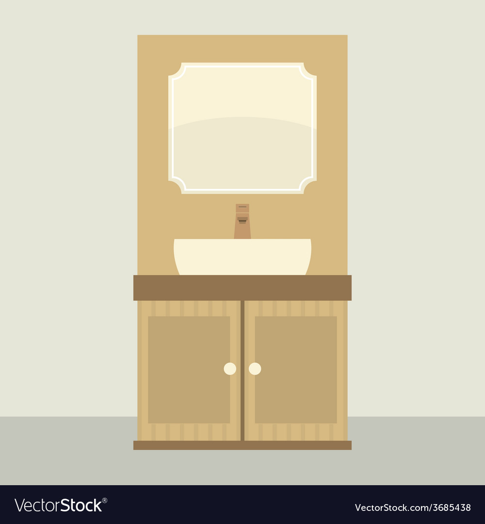 Single lavatory with mirror and cabinet vector