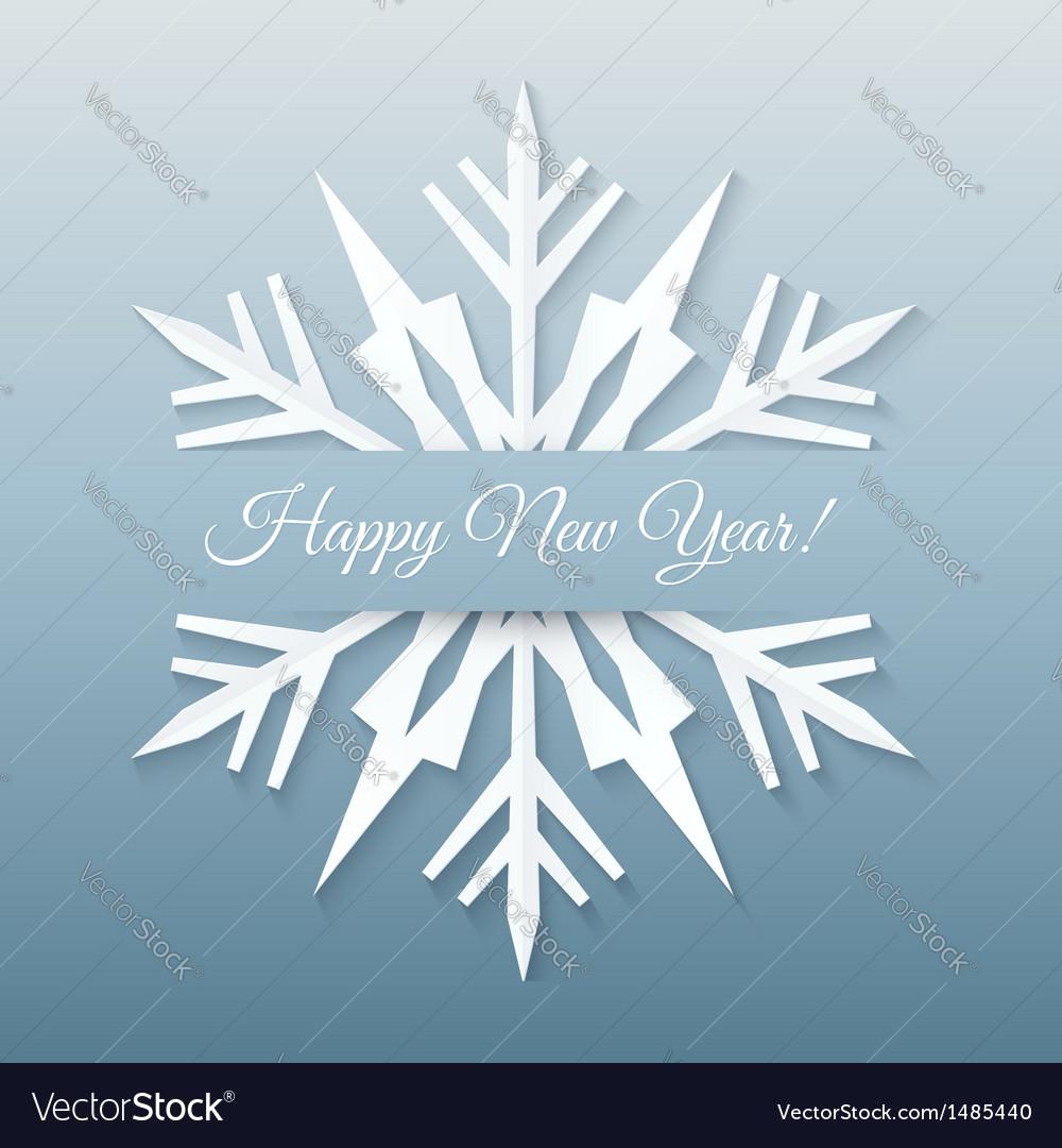 Paper snowflake postcard vector