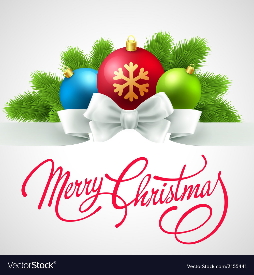 Merry christmas card with lettering vector