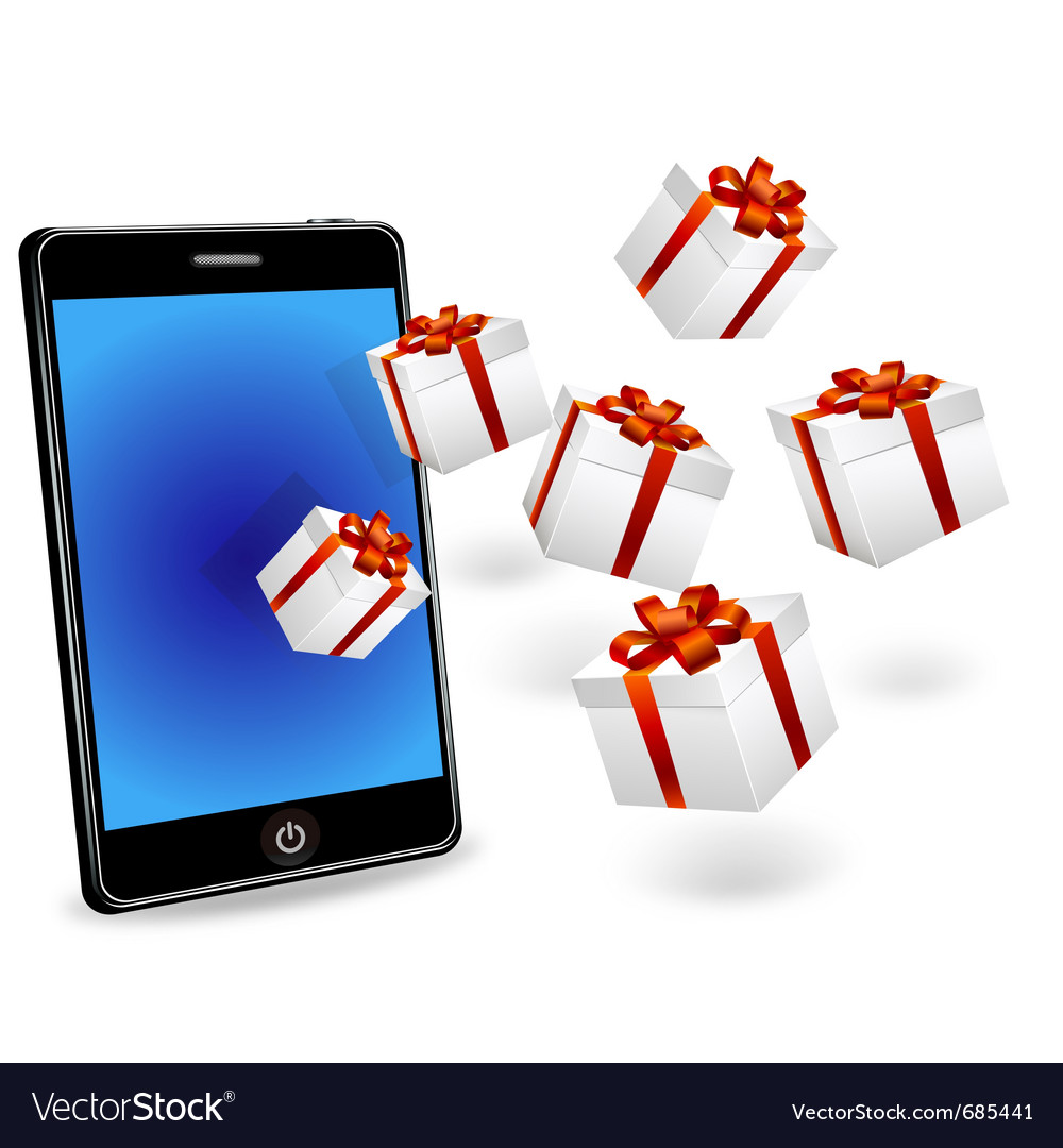 Smart phone with white gift boxes vector