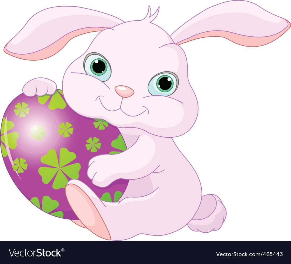 Easter rabbit holds egg vector