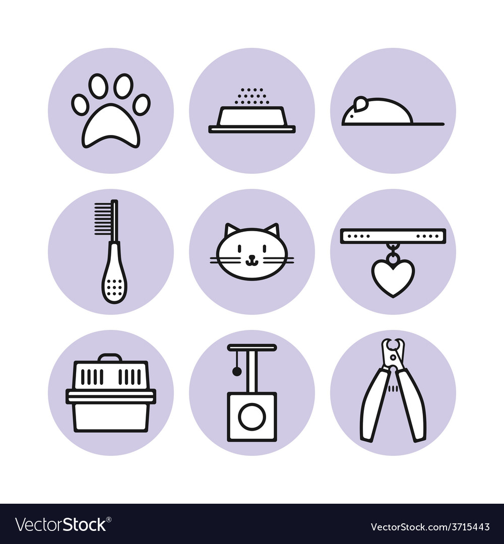 Set for pet store symbols icons vector