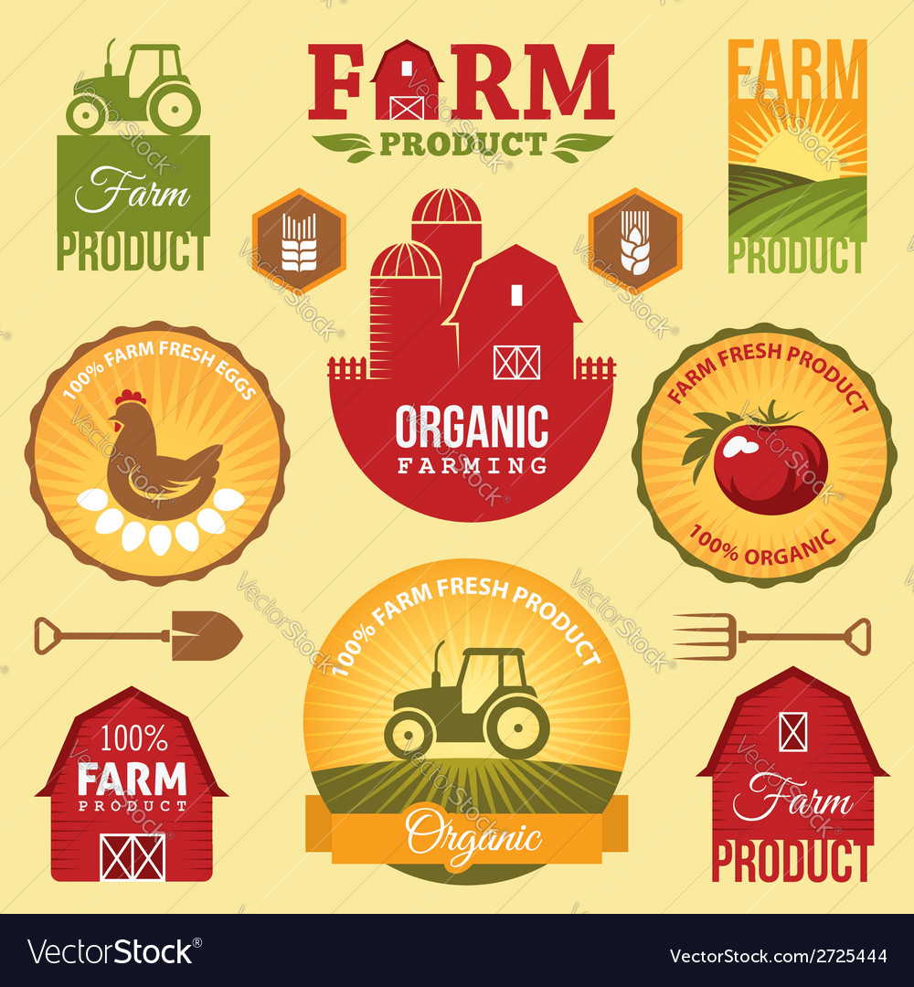 Farm labels vector