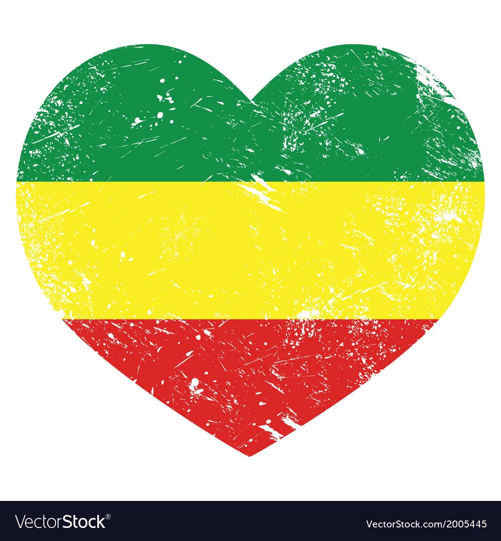 Rasta rastafarian retro heart shaped flag vector