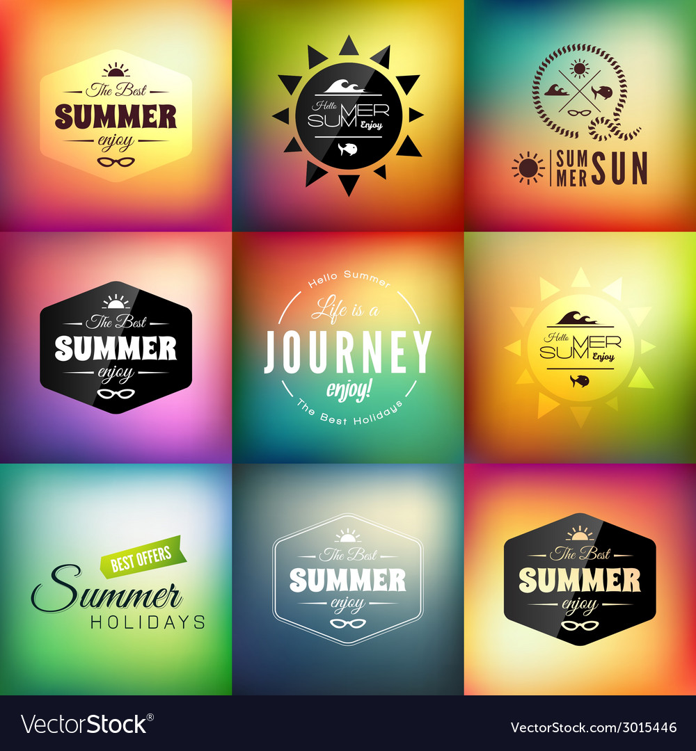 Retro styled summer calligraphic design card set vector