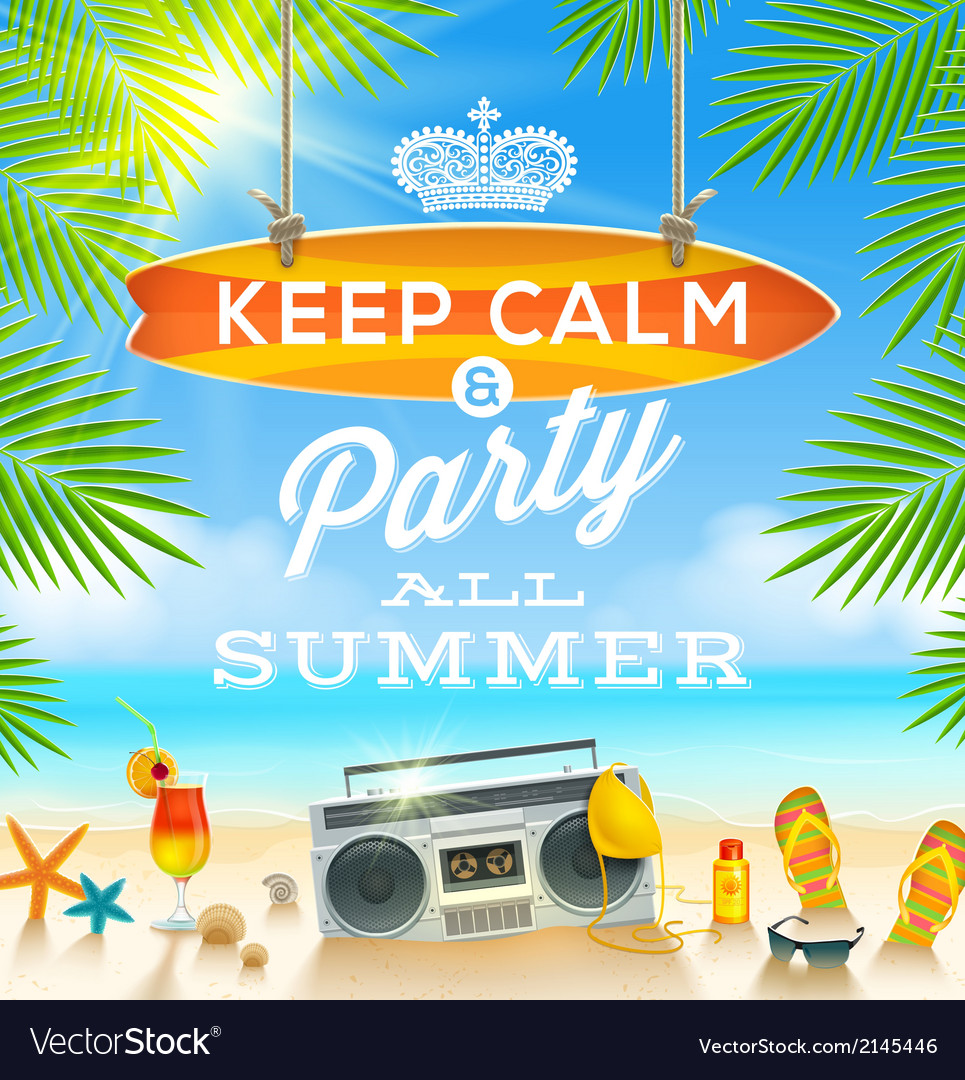Summer holidays greeting design vector