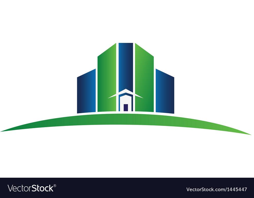 Green building real estate logo vector