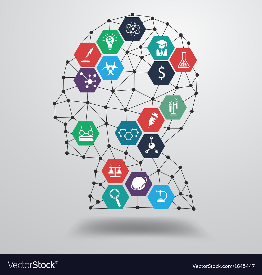 Science icon with human head vector
