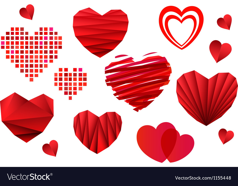 Valentines day heart collection vector