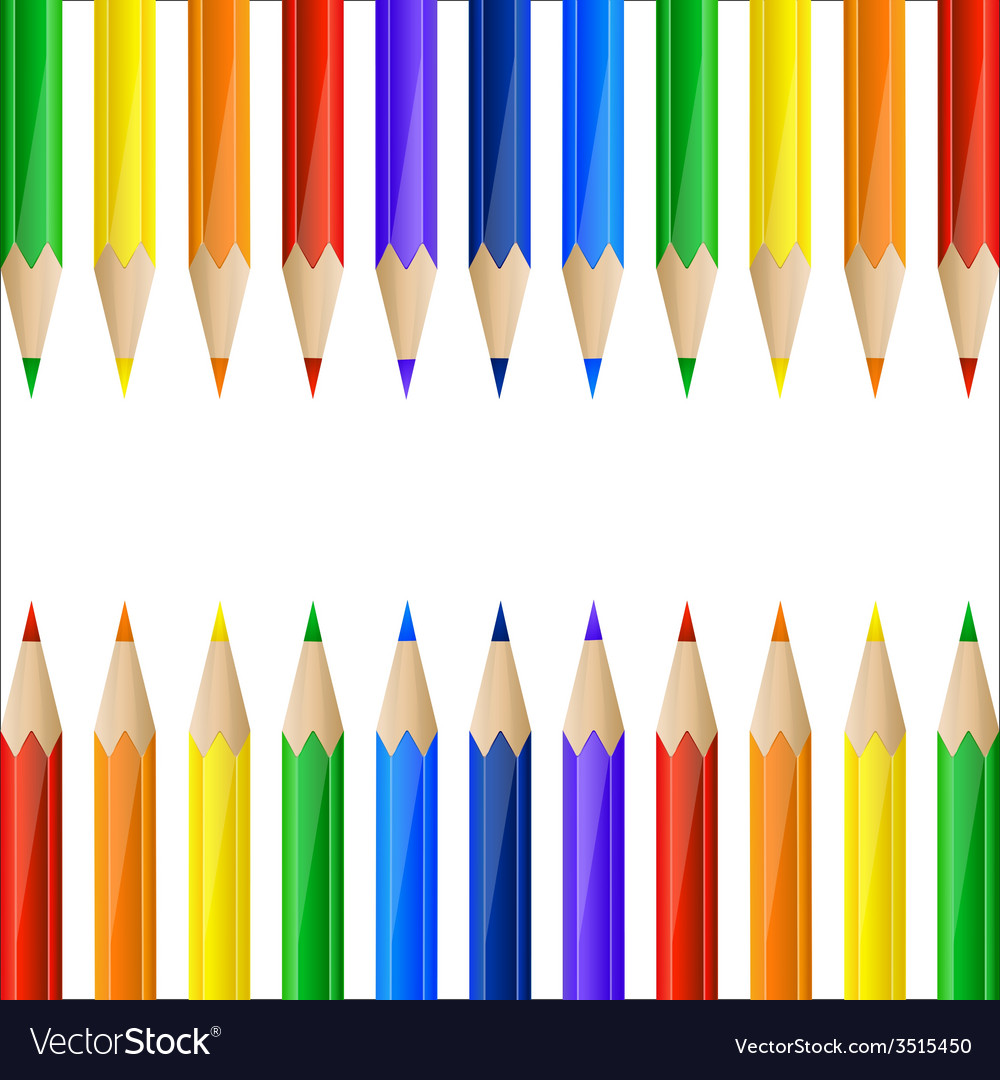 Border made of colorful pencils vector