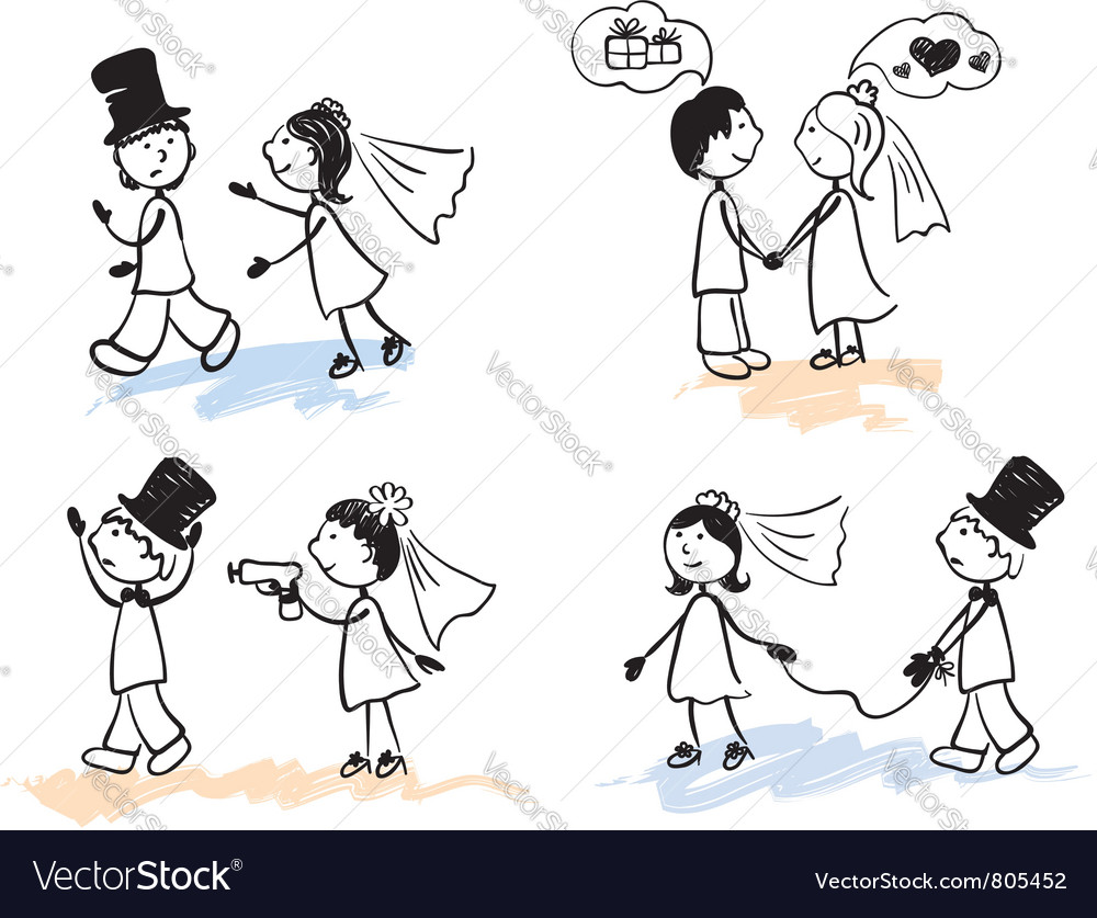 Funny men - wedding vector