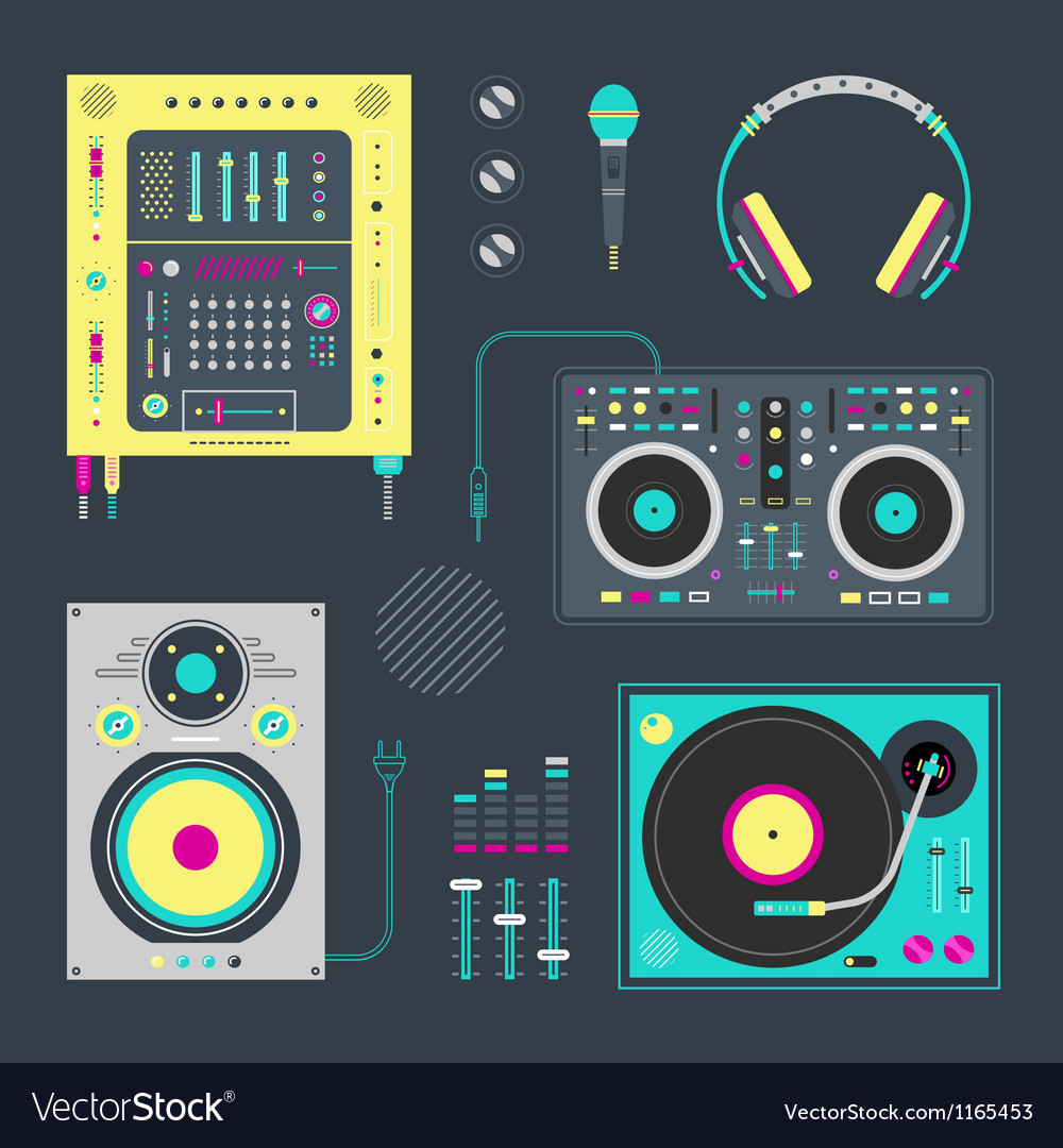 Dj icons vector