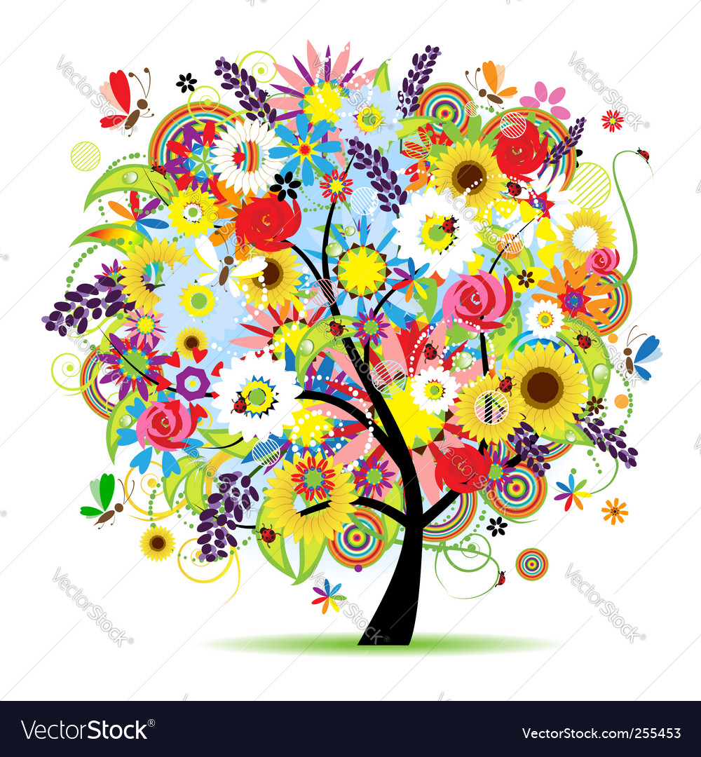 Floral sunflower tree vector