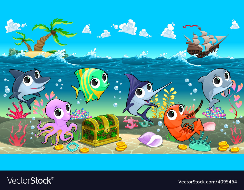 Funny marine animals in the sea with galleon vector