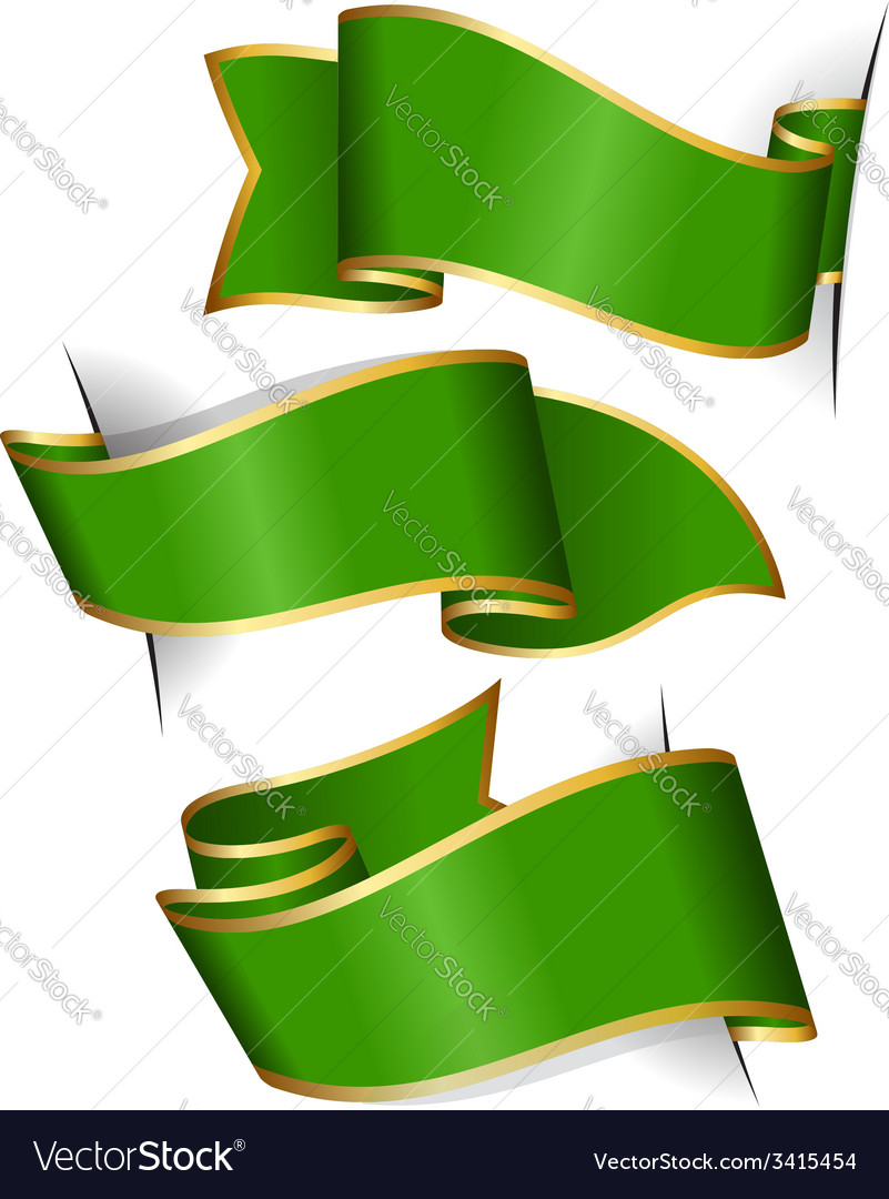 Green ribbon collection vector
