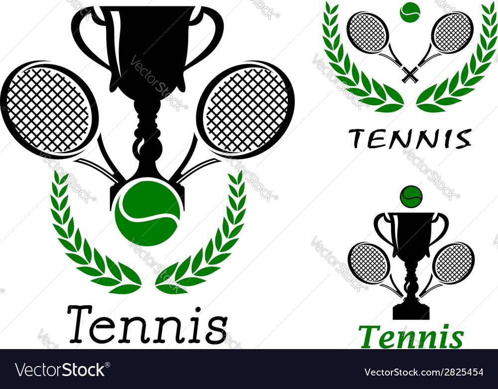 Tennis sporting emblems set vector