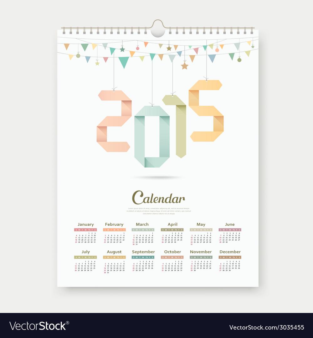 Calendar 2015 paper origami number template design vector