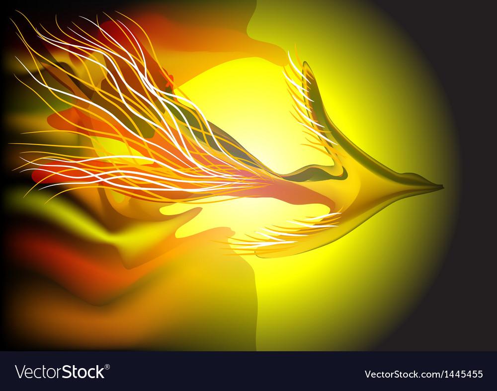 Flying fiery bird vector