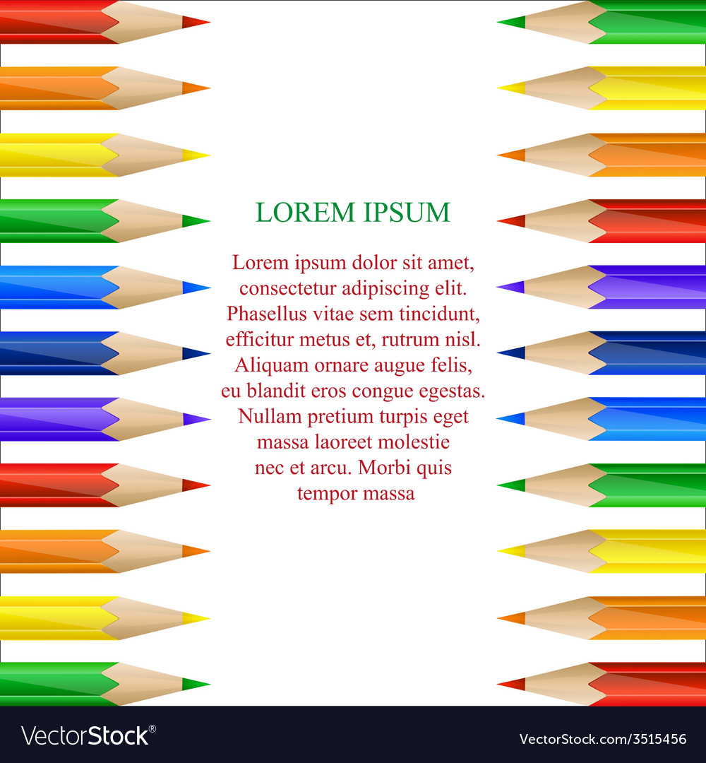 Vertical border made of colorful pencils vector