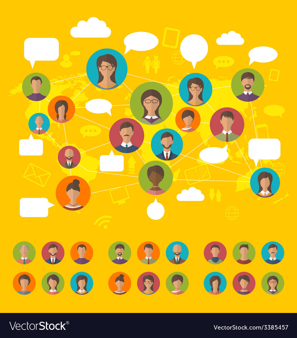 Social network concept on world map with people vector