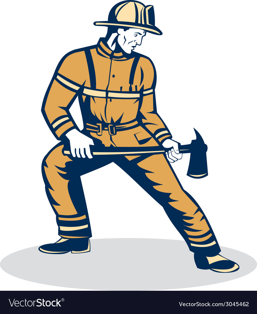 Fireman firefighter standing holding fire axe vector