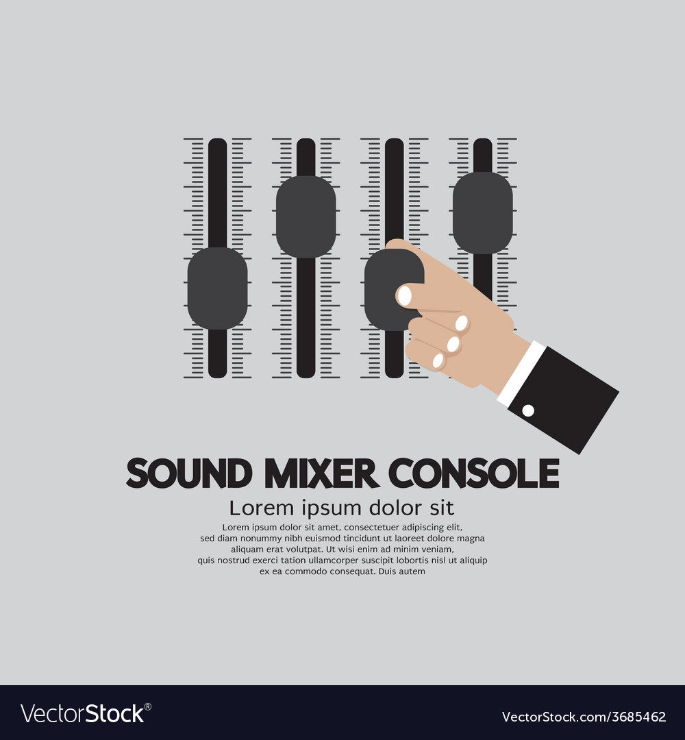 Hand with sound mixer console vector