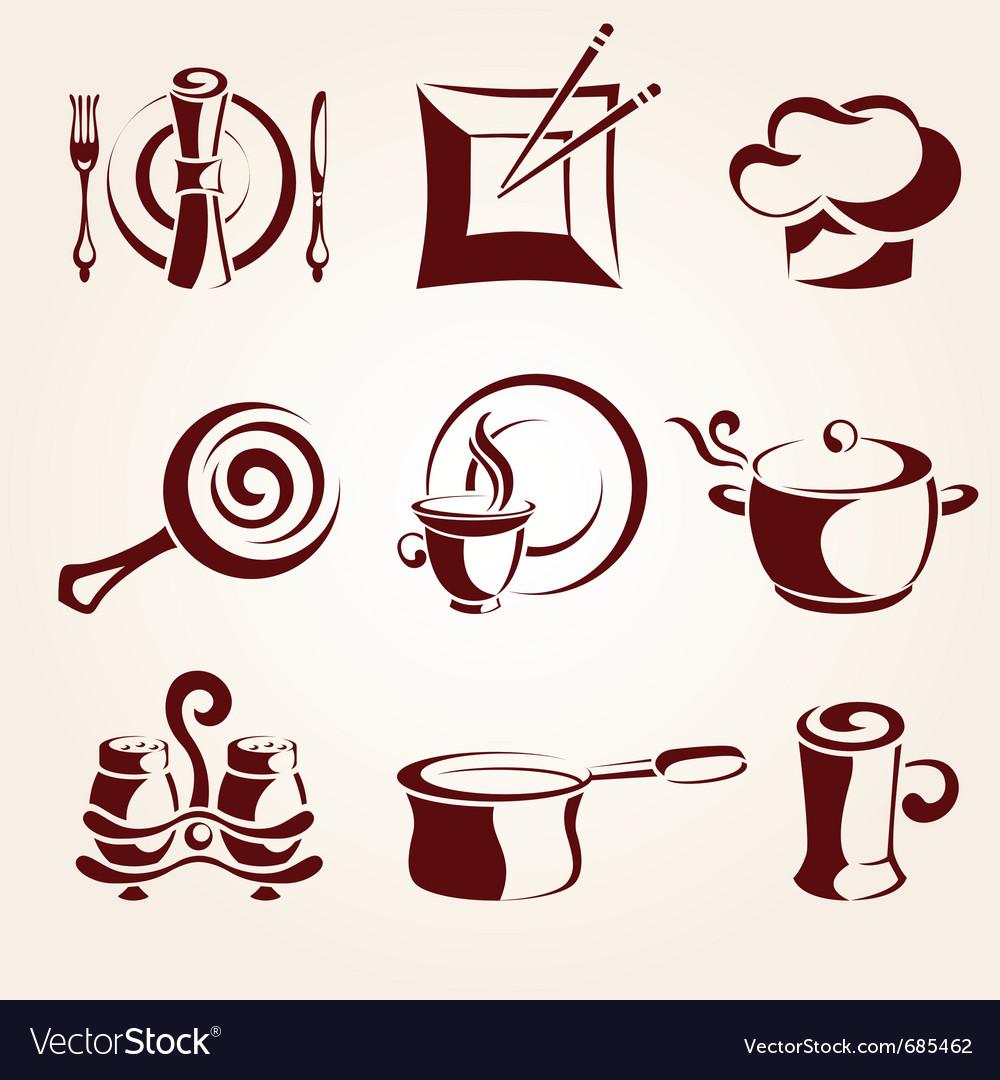 Restaurant elements set vector