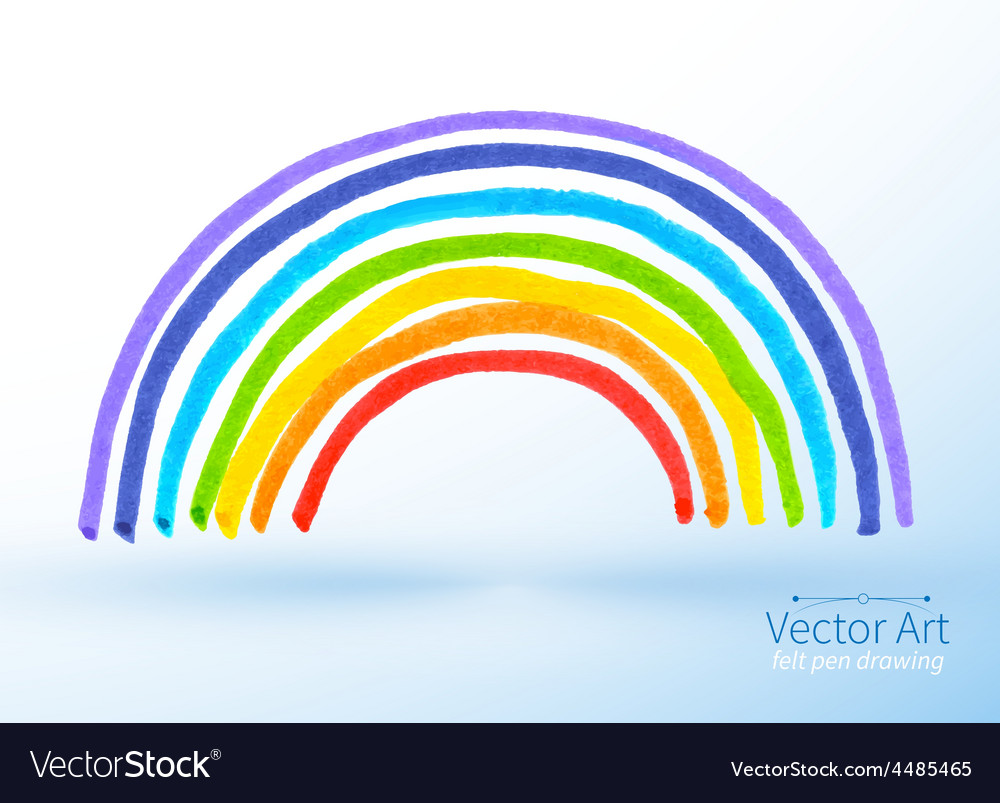 Childlike drawing of rainbow vector