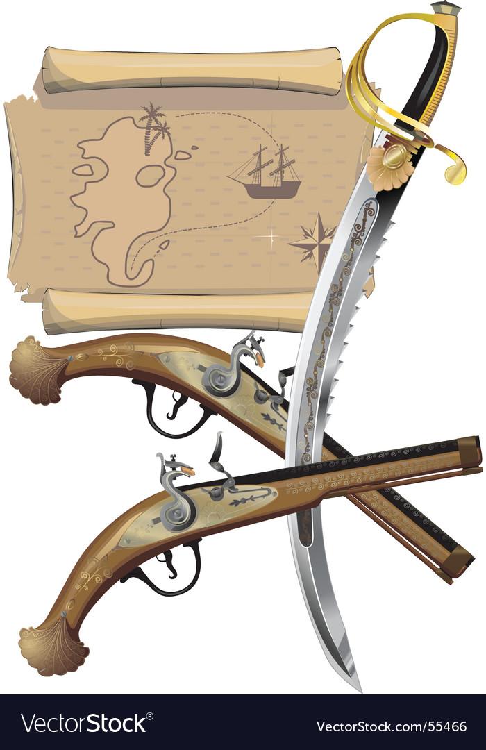Dagger and pistol vector