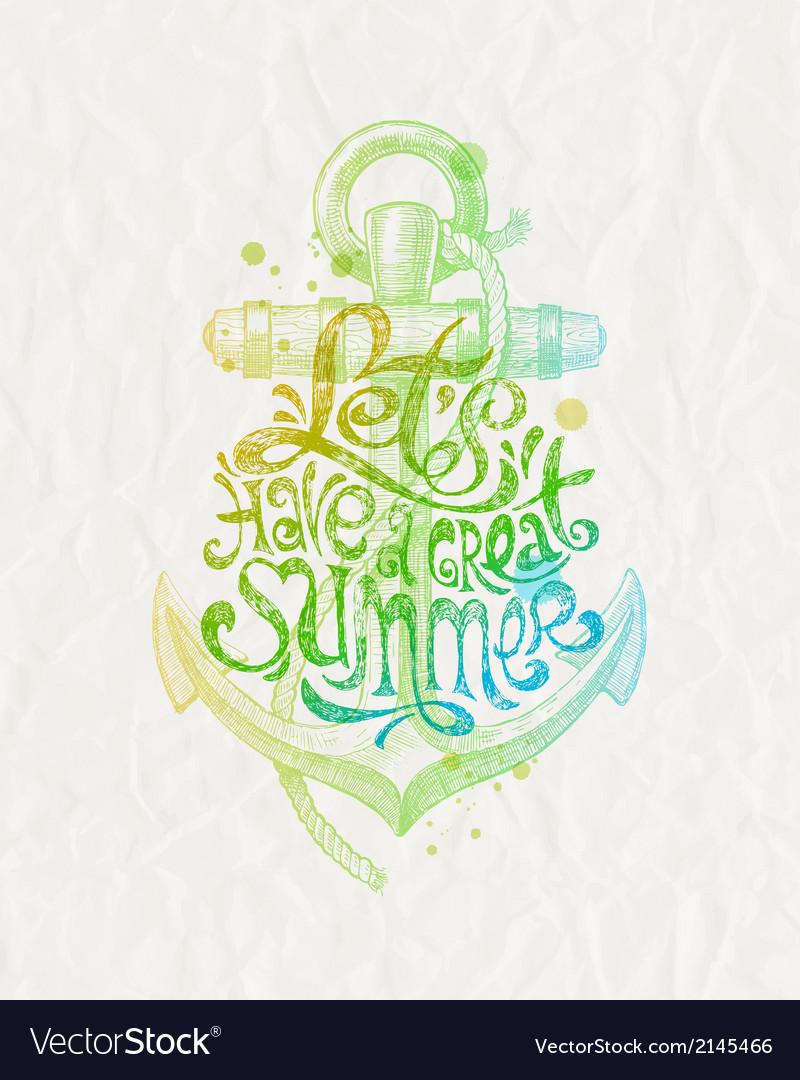 Hand drawn design - summer holidays greeting vector